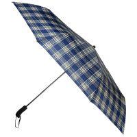 Ομπρέλα συνοδείας σπαστή καρό μπλε αυτόματο άνοιγμα - κλείσιμο Ferré Big Folding Umbrella Check Blue