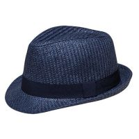 Καπέλο καβουράκι παιδικό μπλε  ψάθινο με σκούρα μπλε κορδέλα Kids Straw Trilby Hat Blue With Dark Blue Ribbon