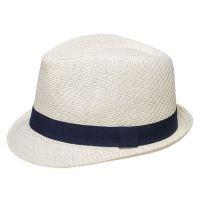 Καπέλο καβουράκι παιδικό εκρού  ψάθινο με σκούρα μπλε κορδέλα Kids Straw Trilby Hat Ecrou With Dark Blue Ribbon