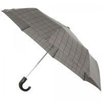 Ομπρέλα ανδρική σπαστή με γυριστή λαβή, καρώ, αυτόματη Ferré Automatic Folding Umbrella Check Brown