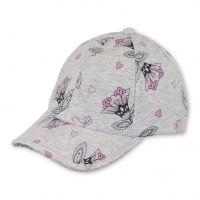 Καπέλο τζόκεϊ καλοκαιρινό βαμβακερό γκρι με λουλούδια και αντηλιακή προστασία Sterntaler Grey Flower Cap.