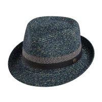 Καπέλο καβουράκι ψάθινο μπλε Sraw Trilby Hat Navy.