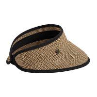 Καπέλο γείσο γυναικείο ψάθινο μαύρο Women's Straw Visor Black.