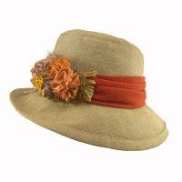 Καπέλο γυναικείο λινό καλοκαιρινό χειροποίητο με φαρδιά κορδέλα και λουλούδι
