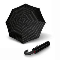 Ομπρέλα σπαστή με γυριστή λαβή αυτόματο άνοιγμα - κλείσιμο μαύρη ριγέ Knirps Folding Umbrella T.260 Medium Duomatic Gatsby.