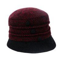 Καπέλο γυναικείο χειμερινό μάλλινο βυσσινί ψαροκόκαλο Hat You Ladies Winter Hat Bordeaux.