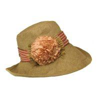 Καπέλο γυναικείο καλοκαιρινό χειροποίητο λινό με φαρδιά ριγέ κορδέλα και λουλούδι