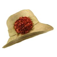 Καπέλο γυναικείο καλοκαιρινό χειροποίητο λινό μπεζ με φαρδιά κορδέλα και λουλούδι