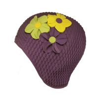 Women's Swimming Cap With Flower Bouquet Purple