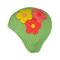 Women's Swimming Cap With Flower Bouquet Green