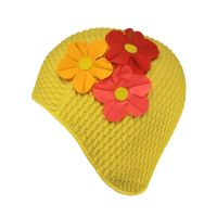 Women's Swimming Cap With Flower Bouquet Yellow