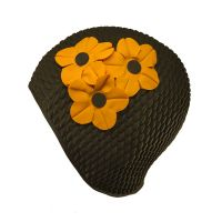 Women's Swimming Cap With Flower Bouquet Black