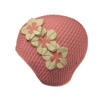 Swimming Cap With Three Flowers Pink