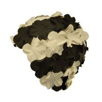 Swimming Cap With Flowers White / Black