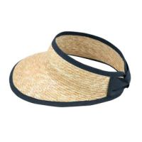 Women's Straw Visor With Blue Bow