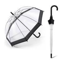 Long Manual Windproof Transparent Umbrella Happy Rain Domeshape Black