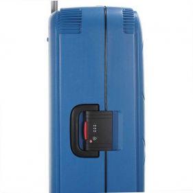 Βαλίτσα σκληρή σιέλ 4 ρόδες  μεγάλη Dielle PPL 870 75 cm, αριστερή όψη