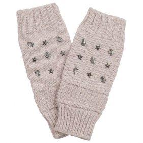 Γάντια γυναικεία πλεκτά χωρίς δάχτυλα Skulls and Stars, μπεζ