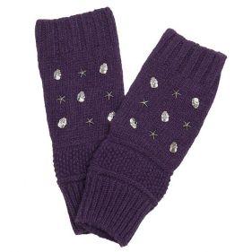 Γάντια γυναικεία πλεκτά χωρίς δάχτυλα Skulls and Stars, μοβ