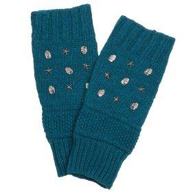 Γάντια γυναικεία πλεκτά χωρίς δάχτυλα Skulls and Stars, πετρόλ