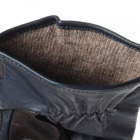 Γάντια ανδρικά δερμάτινα δίχρωμα Guy Laroche, λεπτομέρεια, εσωτερικό