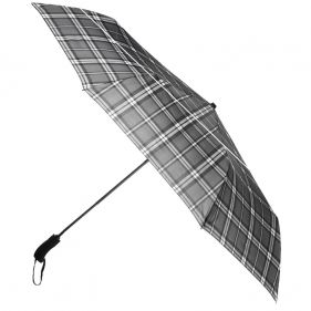 Ομπρέλα συνοδείας σπαστή καρό γκρι αυτόματο άνοιγμα - κλείσιμο Ferré Big Folding Umbrella Check Grey
