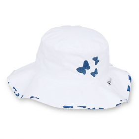 Καπέλο καλοκαιρινό βαμβακερό λευκό με μπλε πεταλούδες και αντηλιακή προστασία Sterntaler Hat With Blue Butterflies