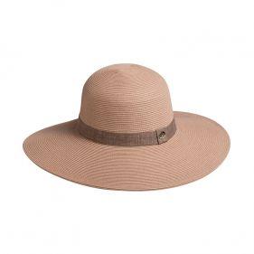 Καπέλο γυναικείο ψάθινο ροζ καλοκαιρινό με λινή κορδέλα Women's Straw Hat With Linen Riben Pink.
