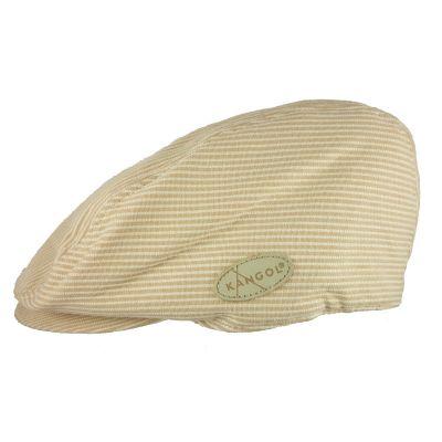 Καπέλο τραγιάσκα ανδρικό καλοκαιρινό μπεζ ριγέ Kangol Stripes Hudson Cap, αριστερή όψη