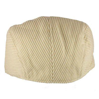 Καπέλο τραγιάσκα ανδρικό καλοκαιρινό μπεζ ριγέ Kangol Stripes Hudson Cap, πίσω όψη