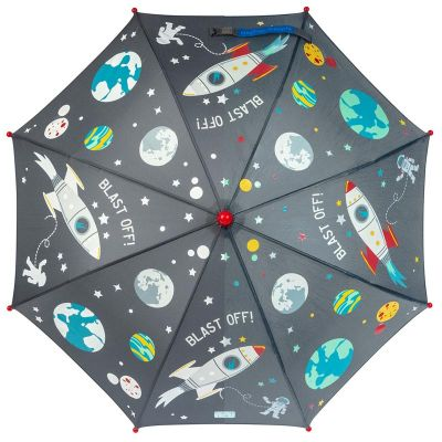 Ομπρέλα παιδική που χρωματίζεται στη βροχή διάστημα Stephen Joseph Color Changing Umbrella Space, μισή χρωματισμένη και μισή αχρωμάτιστη.