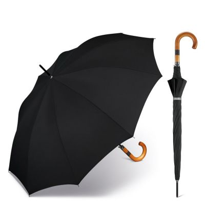 Long Automatic Umbrella Happy Rain Gents AC 10 Black